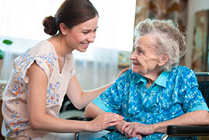 home health care skilled nursing and elderly woman.